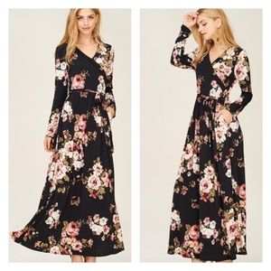 COMING SOON! Black Floral Maxi Dress with Pockets
